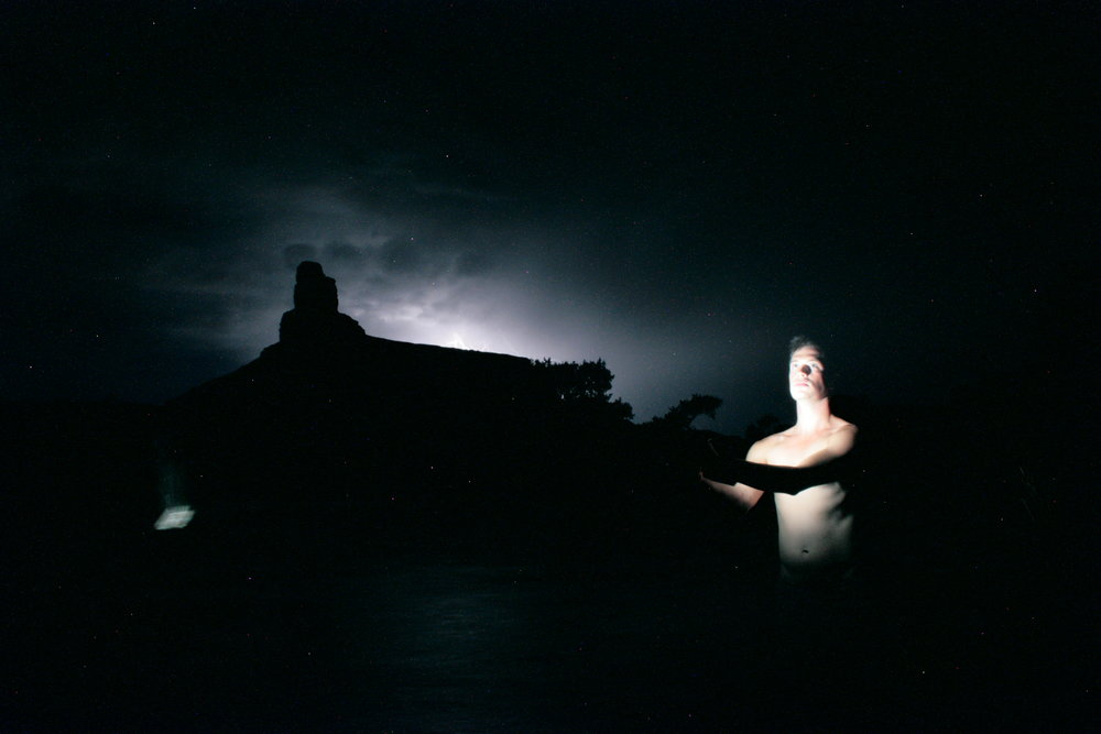 Self portrait at Swaysey's Beach during a lightning storm, 2011