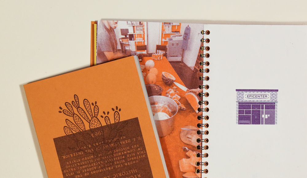 Field Guide Specifications: Process: 2-color (purple and orange) risograph interiors on 9 different 70#t French Paper Co. Pop-Tone papers, 1-color cover on 100#c French Paper Co. Pop-Tone Orange Fizz paper; Wire-o binding; Pages: 72; Dimensions: 5″ x 7″; Edition Size: 150.