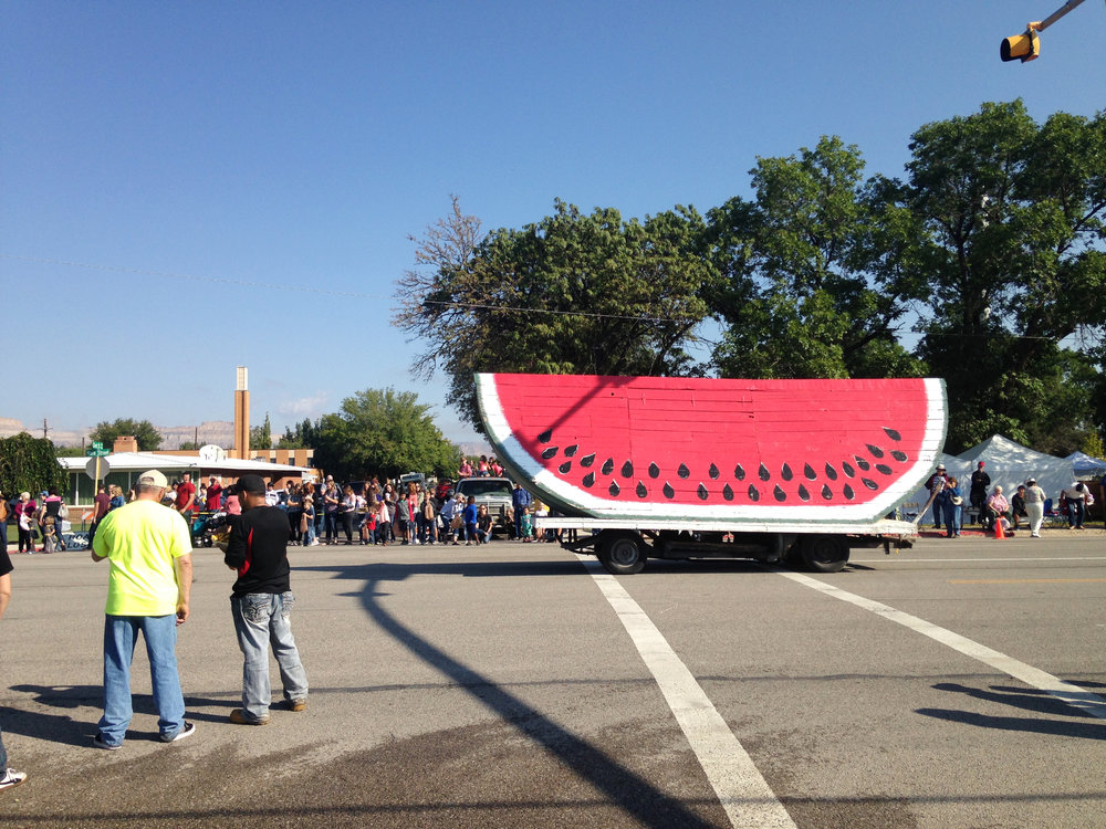 """The World's Largest Watermelon,"" previously a snack hut, rides in the Melon Days parade every year."