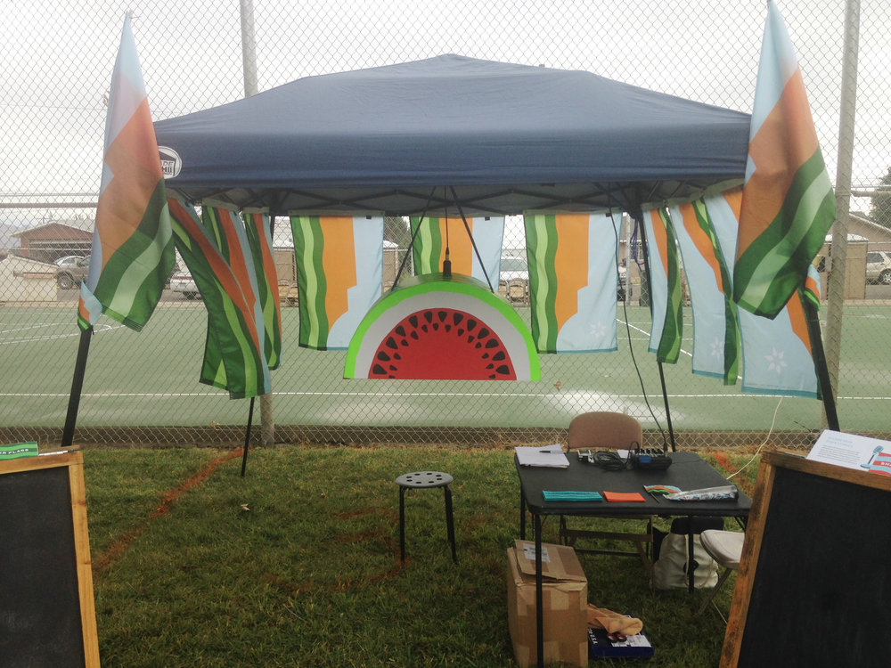 The infamous melon slice recording booth. Some people didn't have a story to tell, but wanted to get their photo in the slice. Good job Jarod!