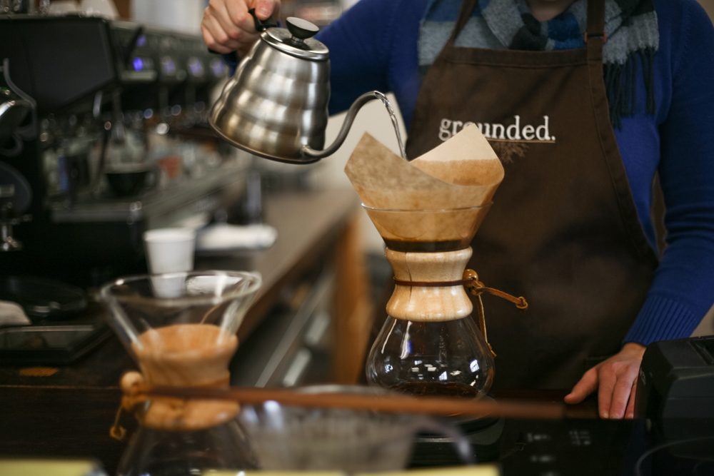 Manual brew of a Chemex pour-over coffee