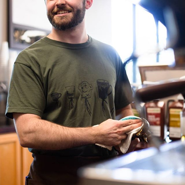 Look at that fella. Making coffee. Having a good time. Wearing a sweet Grounded tee. What a life.  #baristalife #madisonal #huntsvilleal #eatlocalhsv #ihearthsv #coffeeshop