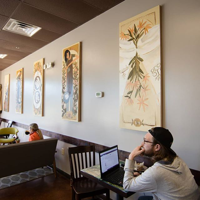 Has anyone checked out our new artwork? @bethmade_ did a fantastic job capturing the togetherness and community of Grounded. Do you like it? We do!  #eatlocalhsv #madisonal #huntsvilleal #ihearthsv #coffeeshop #artoninstagram
