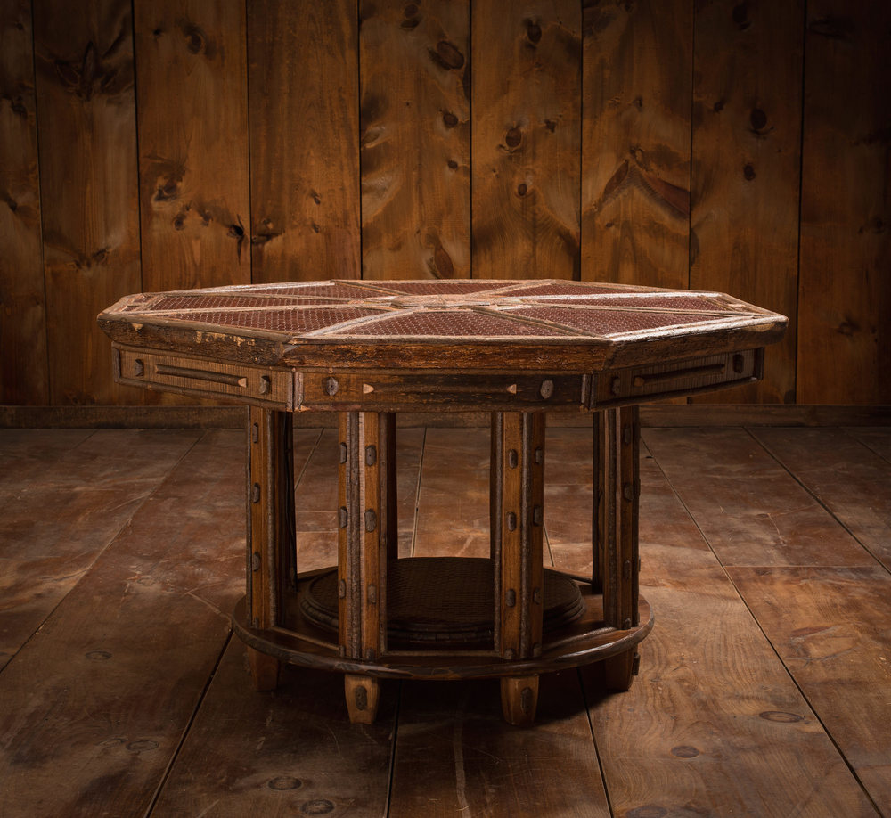 Octagonal Maple and Leather Dining Room Table