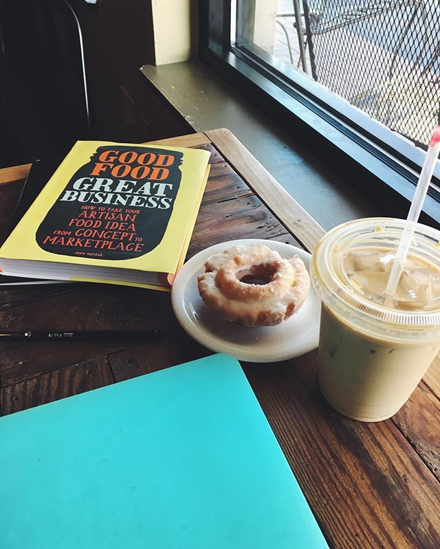 Iced Latte and a @wehavedoughnuts Buttermilk @seedscoffee to improve brain power for business planning. #instagrambham #wwllt #turnippatchjams