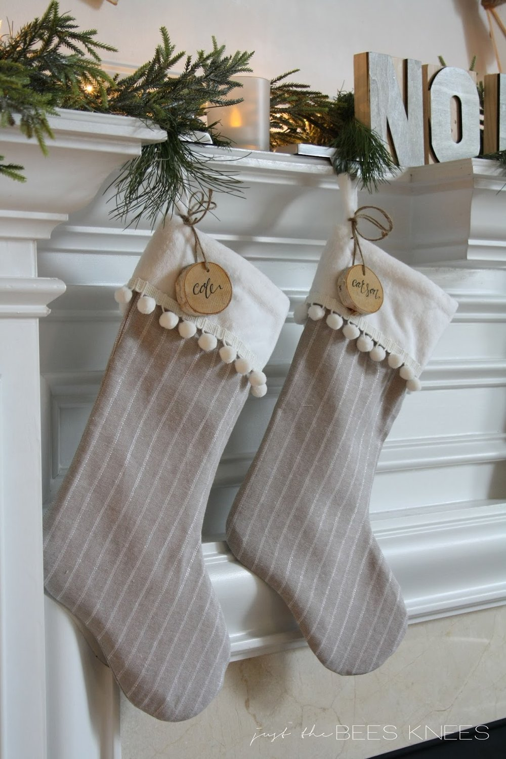diy pom pom trim stocking tutorial interiors by sarah langtry