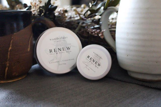 Our RENEW face + body balm is offered in our signature scent (lavender, cedarwood, & bergamot) and perfect for a new skin routine for the New Year.  It triples as an amazing lip balm, too!