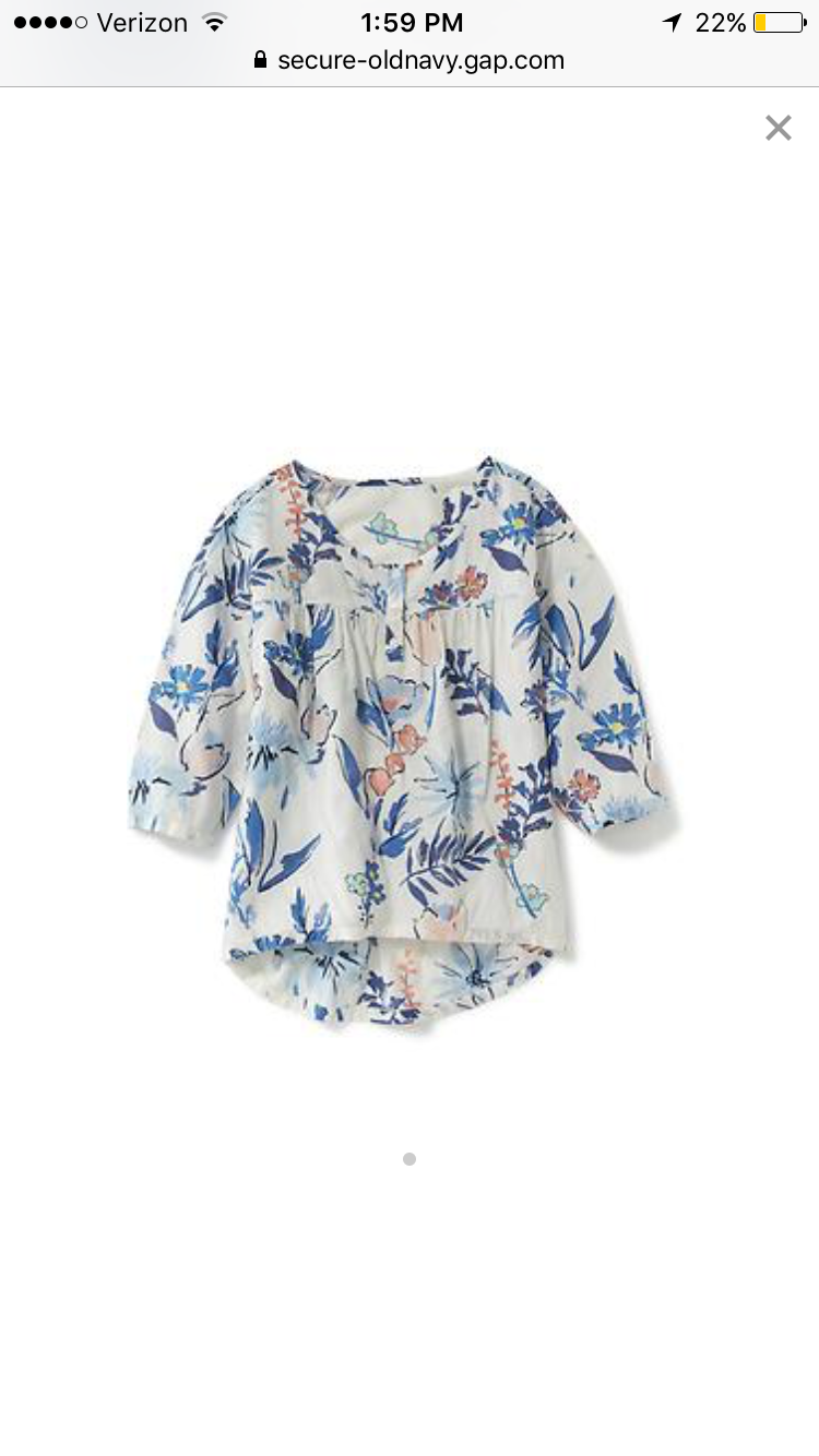 Pink and Blue Floral Girls Top