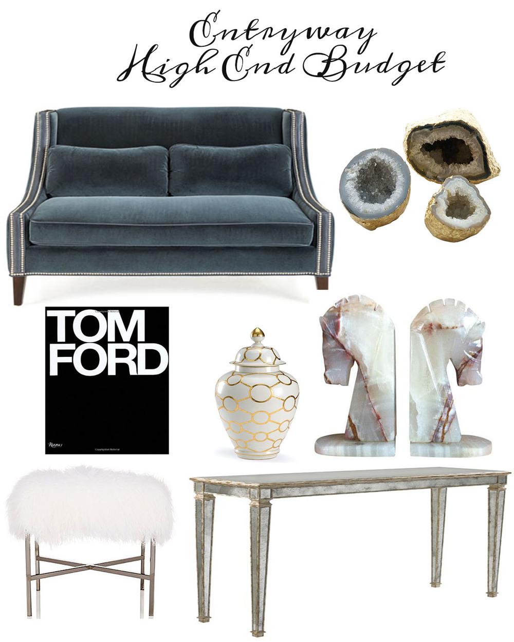 High End Look:  Console // Tibetan Lamb Stool/ / horse bookends/ / Jar // Book // Gems // Settee