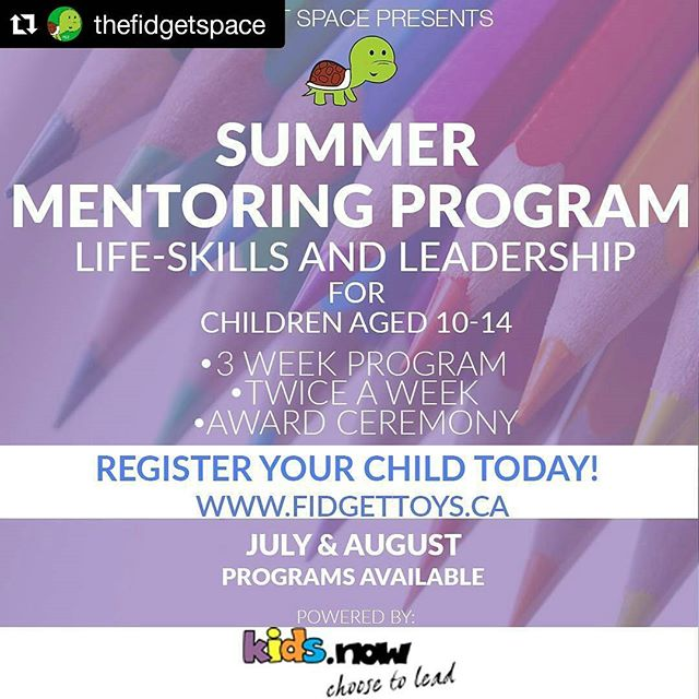 Choose to #lead with the awesome #summer #kids #mentorship program at @thefidgetspace ! Powered by @kids.now ! Our very own founder, @renishkamal will be coaching the sessions! She was a KidsNow Kid, now she's been coaching a few groups at both Scarborough and Pickering schools! Register Today! #leadership