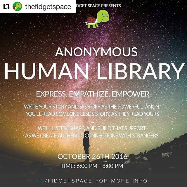 """#Repost @thefidgetspace with @repostapp ・・・ Write your story and sign off as the powerful """"Anon."""" You'll read someone else's story, as they read yours.  So what we need from you, is for you to either send or write and print out a copy of your story, experience, thoughts on whatever it is you would like to express. We'll collect it in the Anon.Bin as you enter the space and we'll pass it along as we'll have a stranger within our group to read a story... We'll listen, share, and build that support as we create authentic connections.  Make sure to RSVP! $2 bucks pitch in for snacks and refreshments!  This is a first event to many wellness events to be hosted weekly at The Fidget Space ! Let's share, connect, and truly listen to our stories and get some pure positive thoughts and suggestions within a group of strangers that are only a few minutes into a story of being a friend. Come out, and finally support a real step into a #endingthestigma and addressing #mentalwellness #FidgetOn"""