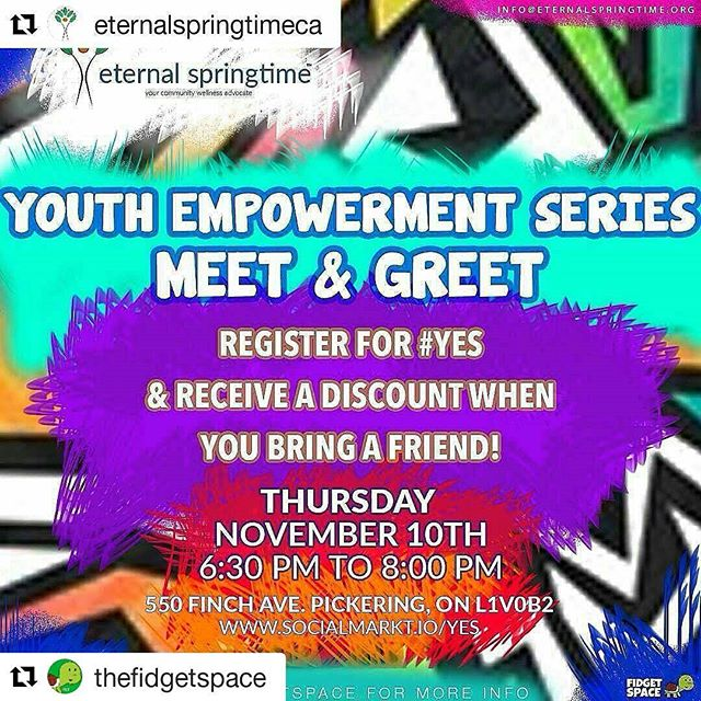 #Repost @thefidgetspace with @repostapp ・・・ #Repost @eternalspringtimeca with @repostapp ・・・ Happening this Thursday! Come out, bring a friend and join @eternalspringtimeca in creating a graffiti wall mural at @thefidgetspace! #YES #YouthEmpowermentSeries #DurhamRegion #Ajax #Pickering #Youth #Art #Empowerment