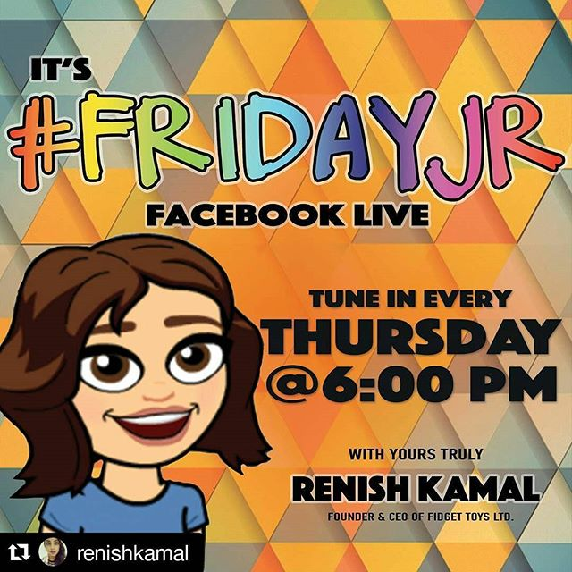 #Repost @renishkamal with @repostapp ・・・ #FridayJr is what I call Thursday!  Tune in, ask your questions about the journey and experiences within the #startup #entrepreneurial world! Trust me I keep it raw, real, and relative ;) Love the love + #FidgetOn