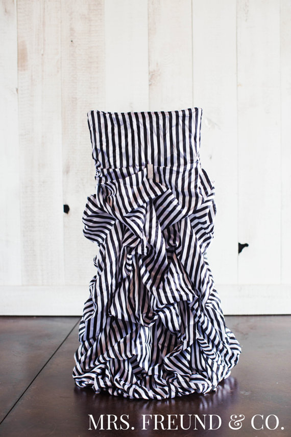 Black & White Stripe Ruched Chair Covers by Mrs. Freund & Co. $40