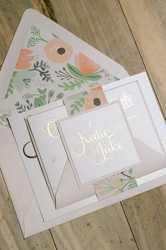 Foil - Gold and Blush Floral Wedding Invitation by JustInviteMe on Etsy, $6.00+