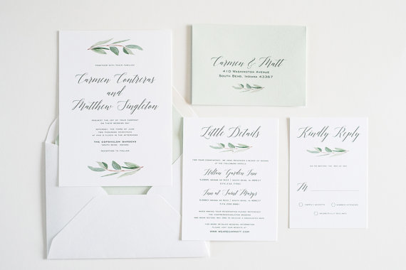 Eucalyptus Greenery, Simple, Calligraphy Watercolor Wedding Invite: CARMEN by TwigandJuniper on Etsy $8+