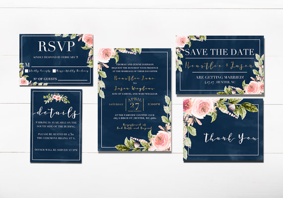 Navy Floral Wedding Invitation by Shesmytuesday on Etsy $39.99 (printable files for whole suite as shown)