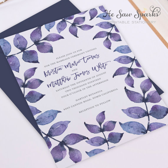 Purple Watercolor Leaves by HeSawSparks on Etsy, $30 (printable file)