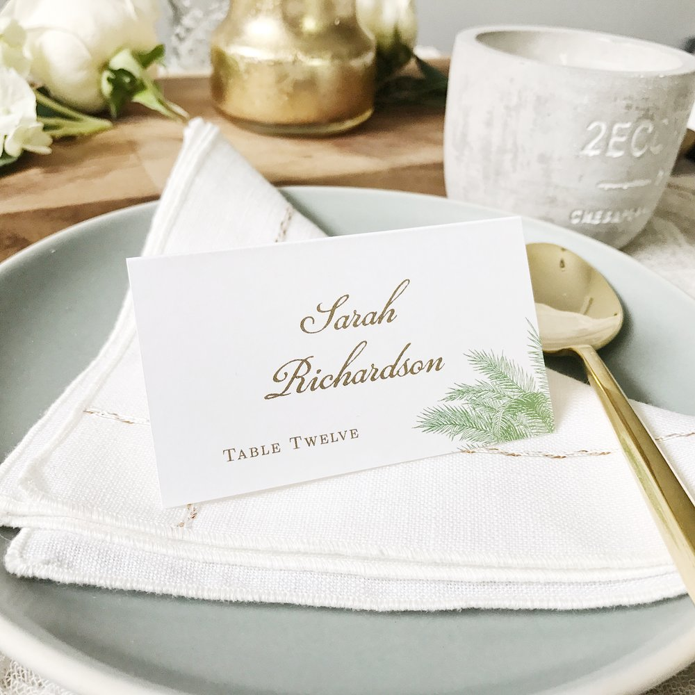 Carribbean Palm Place Cards by  Basic Invite