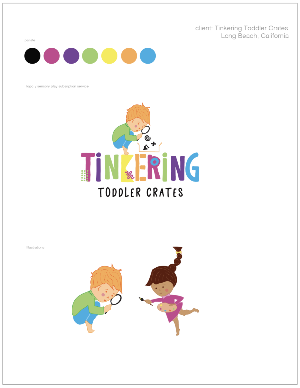 client: Tinkering Toddler Crates - logo design, vector illustrations