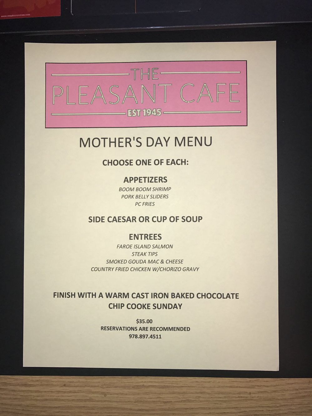 Don't forget about Mom Sunday. Reservations are recommended.
