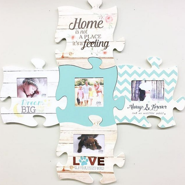Mix and match our puzzle piece frames to highlight the people (and pets) you love.