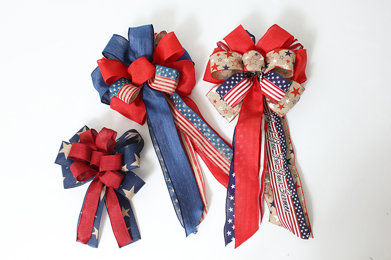 Pre-tied 4th of July Bows for decorating can be found at Prairie Garden in Champaign, IL.