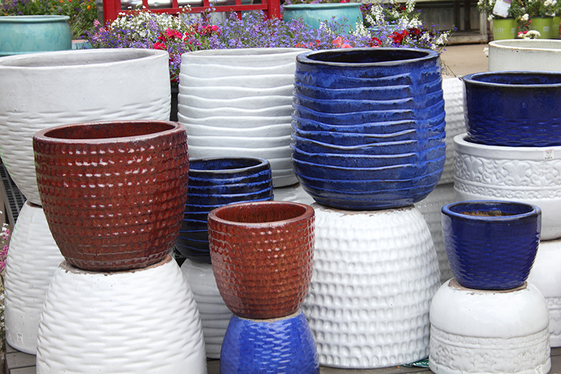 Red, white and Blue ceramic pottery is 25% off at Prairie Garden in Champaign, IL.