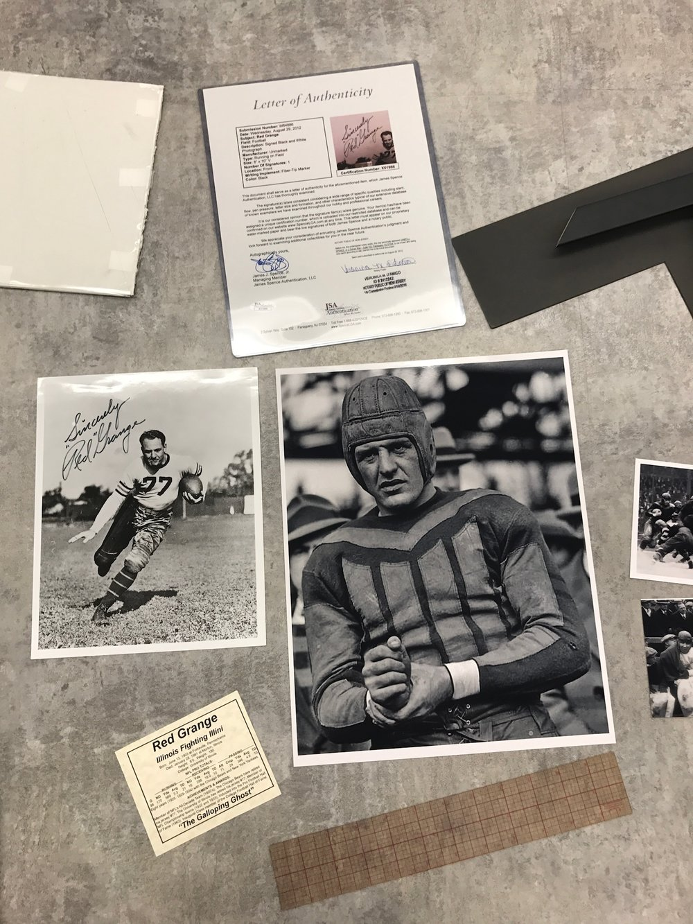 Red Grange Pieces ready to be framed at Prairie Gardens, Champaign IL