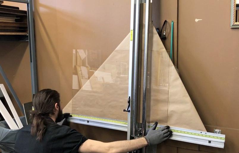 Cutting Glass for a Custom Frame at Prairie Gardens, Champaign IL