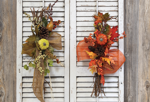 Pumpkin Wreaths and Swags, 19.97 (29.99 value) at Prairie Gardens, Champaign IL • available for a limited time