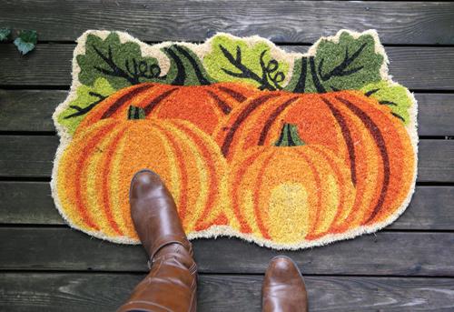 Pumpkin Door Mat at Prairie Gardens in Champaign, IL