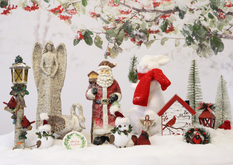 Christmas Garden Ornament & Accent Theme Available at Prairie Gardens, Champaign IL