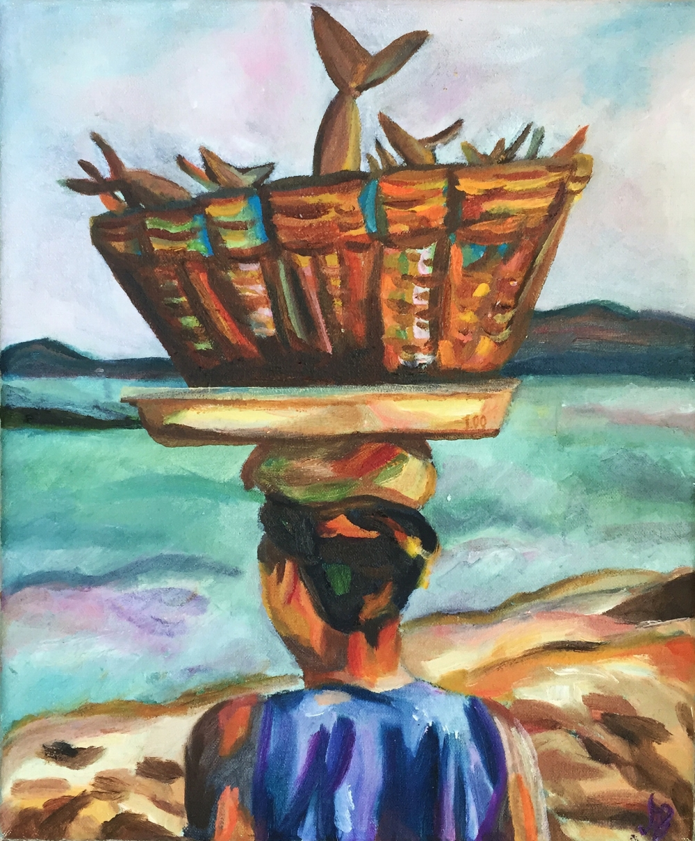 Lady and the sea (2) | Oil on canvas | 2015