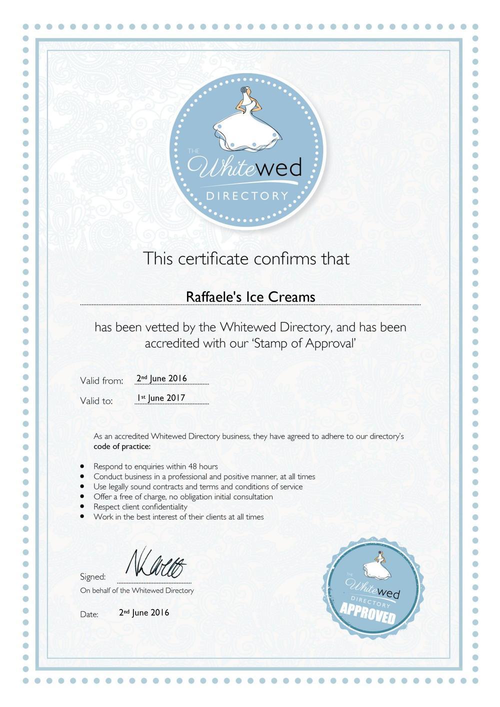 Raffaele's Ice Creams WWD Approval Certificate 02.06.16 - 01.06.17 [712022].jpg