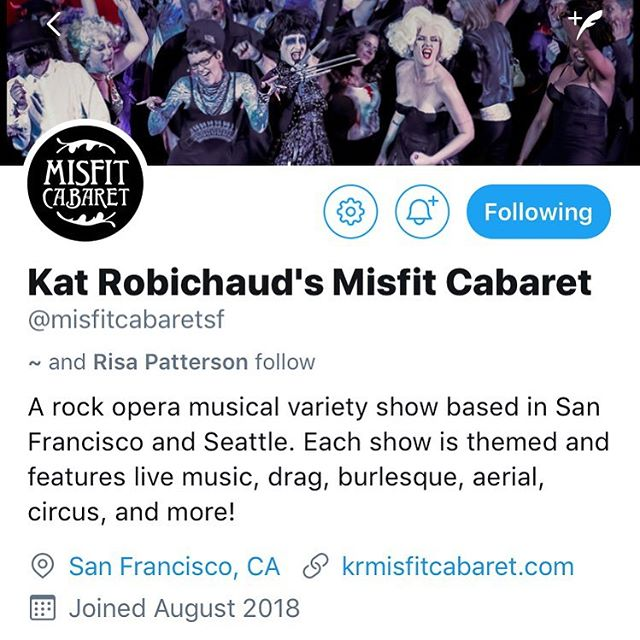 Misfit Cabaret has a Twitter account at @misfitcabaretsf!