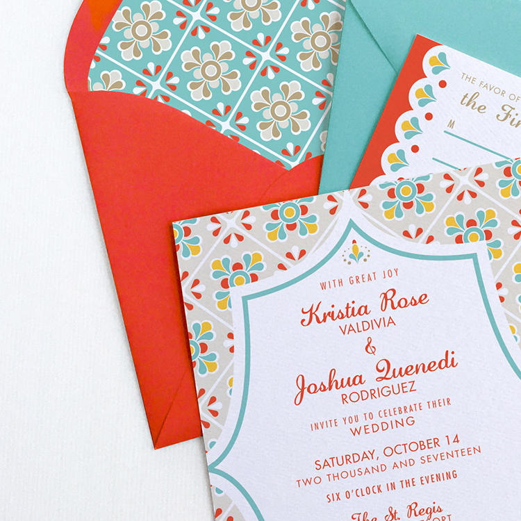 Mexican Tile Wedding Invitation Suite