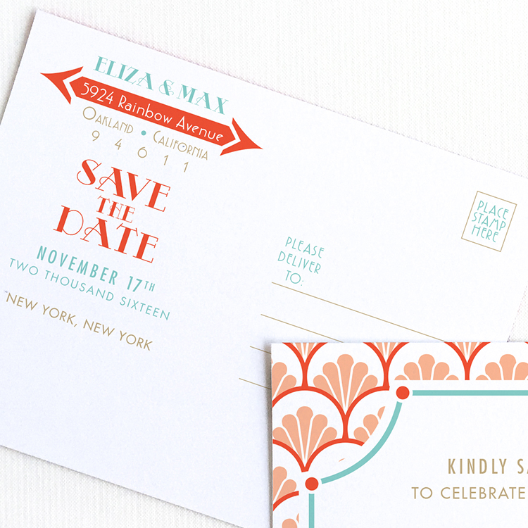 Art Deco Save the Date Postcard