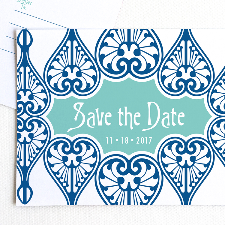 Art Nouveau Save the Date Postcard