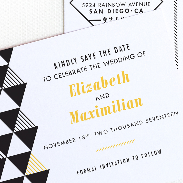 Modern Geometric Save the Date Postcard