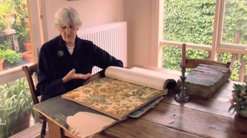 Phyllis at home with her wallpaper collection