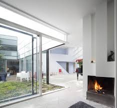 Fireplace and courtyard