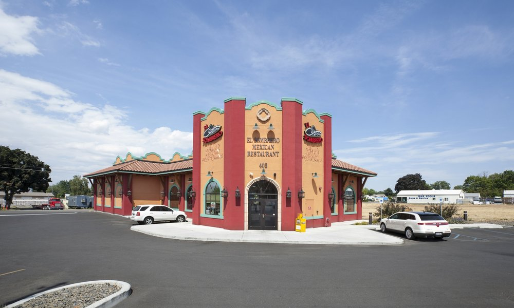Owner: Alfonso Pimienta Location: Lewiston, ID   The right combination of bring exterior colors make El Sombrero standout from the road and are balanced by the straight forward masonry exterior construction. The variety of interior finishes and textures along with the daylight from large windows make the dining area a fun and vibrant experience for guests.