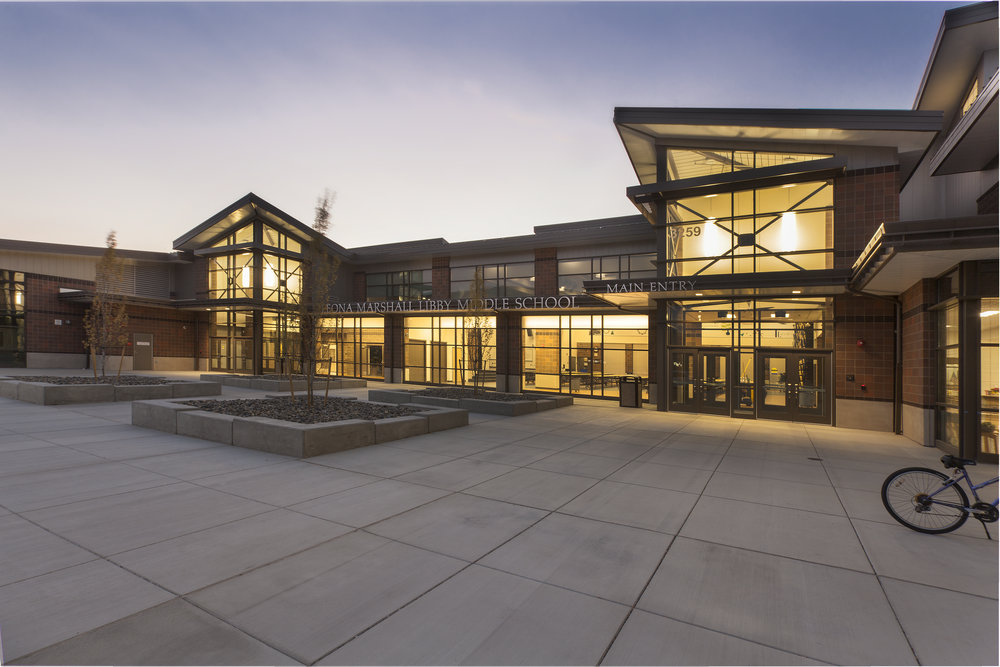 Owner: Richland School District Location: Richland, WA  The design for Leona Marshall Libby Middle School makes the best use of the site, uses budget-conscious materials, and creates an educational facility that contributes to a STEM focused learning experience for the students. The design and layout of the facility creates welcoming, flexible and secure educatonal spaces.