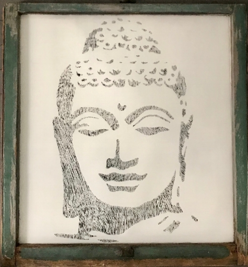Lady Buddha, Salvaged antique window, 32x34