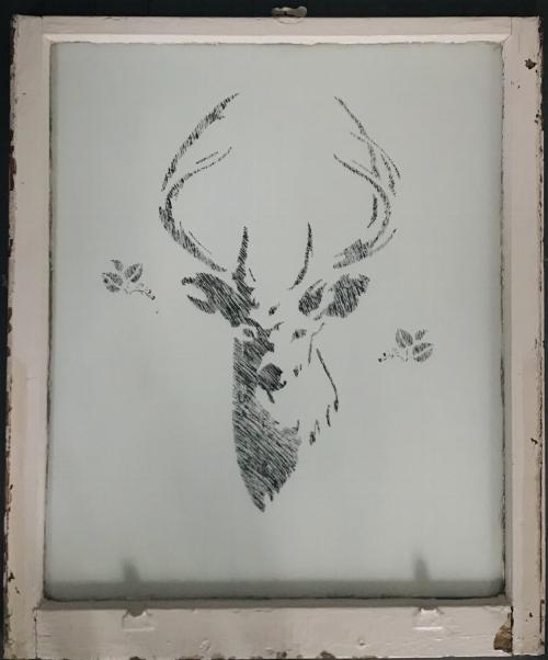 Sweet Deer, Salvaged antique window, 36x40