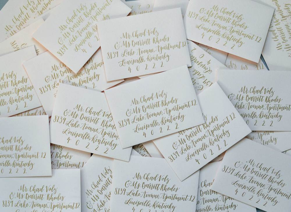 Riley and Ko calligraphy invitation envelopes louisville kentucky