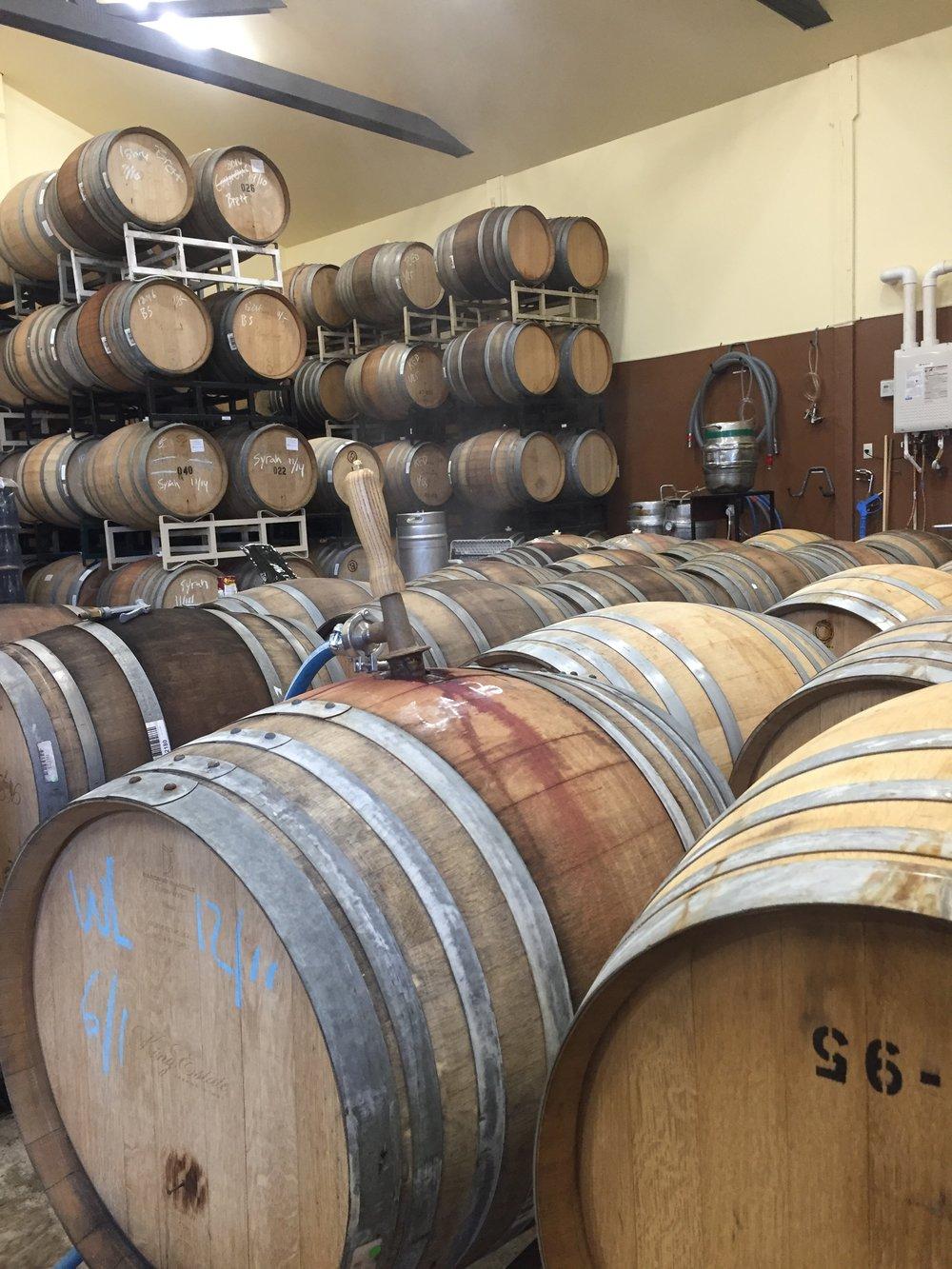 Steaming barrels before filling.