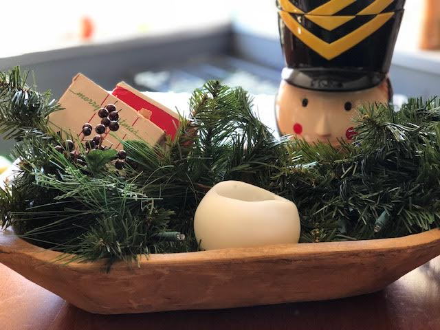 Deig Dough Bowl - This beautfiul wooden bowl can be decked out for the Holidays holding winter greeting cards or holly. The rest of the year it can display decorative balls, mail and keys, a loaf of homemade bread, or your newborn baby.
