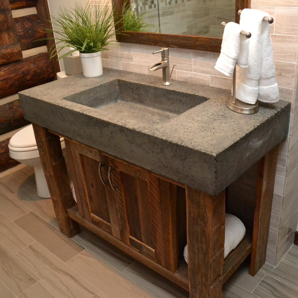 stone sink rustic bathroom